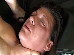 Facial Abuse brings you a hell of a free porn video where you can see how this nasty brunette slut gets pounded and facialized while assuming very naughty poses.