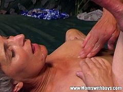Mature porn star gets young cock.  In our mature porn fairy tale an old grey-haired Cinderella will be the one getting fucked by the young prince and she moans with so much pleasure.