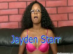 How come every broad in the ghetto thinks they're a star. The world needs some supporting cast, but in this case we made Jayden a star. She looked all glamorous with her show winning poodle do. Jayden took a good ol' old school learning lesson, called tough shit or was it love. Either way, the cock boldly entered places that no cock went before. Jayden expressed her pleasure from that by what looked like sheer joy... Spewing out the thousands of calories she consumed at lunch. Ladies, it's all about a