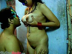 My Sexy Savita brings you a hell of a free porn video where you can see how the sexy brunette Savita lets her man play with her tits while assuming very hot poses.