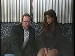 Latina brunette Carmel has got the chance to fuck this legendary pervert old man Ed Powers. She is making out at the bed at first and Ed ask her to remove seductively her clothes revealing her sexy figure.