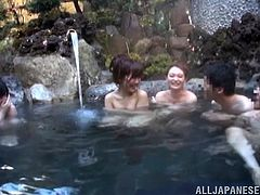 This scene looks so relaxing. Take a look at all the beautiful teen Japanese girls that are floating in this hot spring. The men get to have a nice look at those sexy bodies. the cute girls show off their tits and invite the men to come closer.