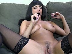 Anissa feels better seated comfortable on the couch with legs spread and using a dildo to masturbate in front of the camera. Her big amazing tits look great when she squeezes them with circular lusty movements. Watch the brunette slutty babe face sitting. The icing of the cake is when shown sucking cock.