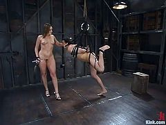 A sadistic mistress has a slave captive in the basement of her house. The helpless guy has been awfully tied up and bonded. The slutty milf takes off her latex skirt and top and begins the torture. The guy's pain intensifies as he wears a ball gag. Watch the dominant bitch using a dildo and a whip! Enjoy!