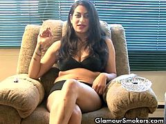 Madison smokes during erotic interview. She is up for anything nasty as she tries to show us what she's got in. Brunette slut smoking while being interviewed wearing only her undies.
