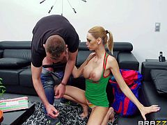 Erica Fontes is a smoking hot babe with long legs and firm big fake tits. She gets her tatas out before she opens her mouth wide to give blowjob. Watch busty Erica Fontes eat guys schlong.