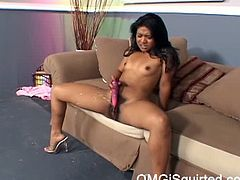 This asian with exotic beauty for the first time is using dildo to pleasure herself and the results are doing great as she squirts a lot of her pussy juice.