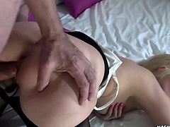 Horny blonde German babe gets surprised by a cock that is keen in fucking her tight german pussy!