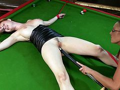 lesbians with big tits and in leather outfit are playing pool start licking her partners pussy then gets tied up and fucked bondage hardcore