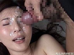 An exotic brunette milf wearing black fishnet stockings is entoured by horny cocks that use her awfully. Watch the Asian slutty bitch on knees taking turns in sucking dick. The riding cock from the reverse cowgirl position scene is very exciting. Click to see Yui banged hard and then with face covered in cum!