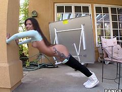 Jynx Maze shows how flexible she is for a rim job and gets her hot ass oiled for pussy fingering and doggystyle fucking.