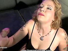 This blonde is a tattooed Goo Girl. She gets plowed in her pink pussy and in her butt hole before these guys start giving her their jizz. She swallows it all.