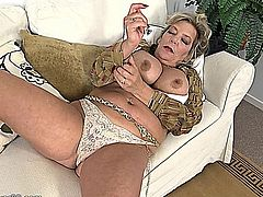 mature, milf, strip, solo, masturbation, nylon,