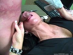 Glamorous brunette MILF with big tits in stockings getting her pussy licked voraciously before getting smashed in a steamy office action