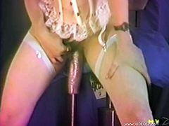 Horny cougar in nylon stocking getting the pleasure of toys before giving huge dicks blowjob and enjoying being feasted hardcore in a MMF sex