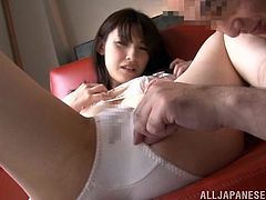 Naughty Japanese Teen in Bra and Panties spreads her Legs as her lover touch her Panties then Lick and Finger her Hairy pussy Hardcore