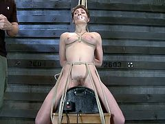 The master ties up this slave with rope and puts her on the sybian. Her tits are tied up so tightly that they are bursting forward. The master puts tape on her tits and on her mouth so she can't say anything to stop him.