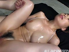 japanese cowgirl with big tits get her nipples massaged and oiled by her lover and her hairy pussy screwed missionary on cumshot