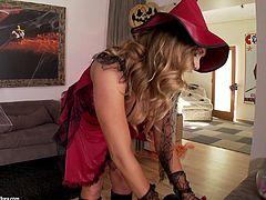 Big Booty cowgirl in leather boots awards her horny guy a superb titjob before getting her shaved pussy fucked hardcore doggystyle