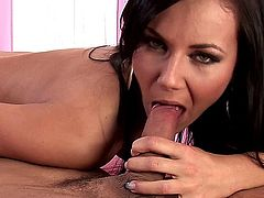 Sexy brunette, Nataly, undoes her man's pants so she can give him a professional-grade blowjobs while she plays with her shaved pussy, soon moving to a 69 so he can return the favor, in this hot oral sex session, which ends with her receiving a facial cumshot.