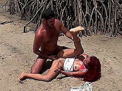 Marcia is laying back on the sandy beach, spreading her legs wide open, while looking down at her boyfriend, whose licking her clean shaved pussy, until she reaches an orgasm. Next, she sits on his pole and rides it, while letting her natural boobs bounce. Finally, after screwing her in several different positions, she gets a facial cumshot.