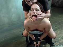 This dirty slave is ready for some punishment. The master takes out a cold metal anal hook and inserts it into her tight anus. Her pussy is going to get filled too with his giant cock. He pulls her lips apart as she is rammed.