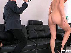 Marvelous redhead cowgirl with natural tits in bra enjoys her pussy being pinned hardcore til the he cums in her mouth in a pov shoot