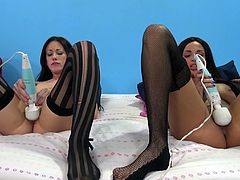 Beautiful brunette with medium ass getting her pussy pounded hardcore doggystyle before enjoying the pleasure of vibrator in ffm sex