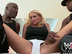 Hot blonde babe gobbles down a big fat monster cock, before getting an anal creampie.