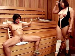 Miss Chanel was a bad girl, so her gf's gave her a lesson. They've found her in the sauna, where they've tied her hands and mouth gagged her, so she won't scream. Then Chanel was spanked on her sexy thighs and more dirty things happened to her. These bad girls are really up to naughty things!