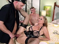 This is a hot fuck and blowjob scene with a horny blonde chick sucking two hot cocks and gets her shaved pussy screwed hardcore.