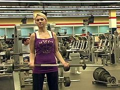 Alison Angel flashes her amazing natural tits in a gym