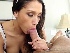 Fine looking maid with hot ass giving her horny guy blowjob before moaning while her pussy is being smashed hardcore missionary in 3D porn