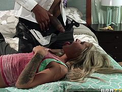 It's a known fact that slutty blonde bitches just crave for big cocks to feel their greedy pretty mouths. Click to see Madelyn getting immediately to serious business and unzipping her partner's pants to enjoy his dick. The bitchy babe is gonna get all of it. Watch her sucking well with passion!