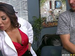 If you like fantasizing about fucking your hot busty doctor, take a look at this video where a sexy milf advises her patient to undress in front of her and a long-haired slutty babe. Watch all the three undressing. The atmosphere grows more intense as the bitches begin sucking the guy's cock. Enjoy!