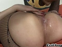 Black horny stud fucks wanton long haired hooker in  mish pose hard