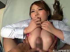 japanese blonde in thong and pantyhose shows her nice ass then does titjob as she is fingered then nailed missionary in pov