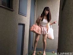 japanese wife bends to pick fallen fruit and shows her panties then her nipples teased and fucked in hardcore reality