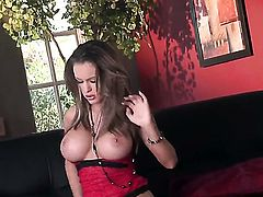 Jenna Presley with gigantic hooters and hairless cunt is on fire in solo action