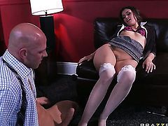 Johnny Sins explores the depth of slutty Allie Hazes wet muff with his love torpedo