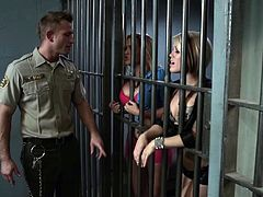 Brunette porn star with a fabulous body enjoying a hardcore threesome in a prison