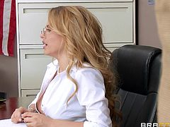 Corinna is a seductive teacher dressed up in a provocative way, wearing high heels and a red miniskirt. She undresses and allows the naughty student to enjoy squeezing her big amazing tits. Once the sexy panties removed, watch her appetizing nice butt being fucked hard from behind as she leans over the desk.