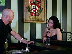 bartender picked up by a sexy brunette