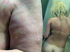 Blonde MILF caught on hidden cam taking shower