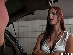 Redheaded meddler wife is just a whore who can't even wash the car and washes the blonde attendants ass instead and gets fucked by a strapon then watches hubby fuck that sweet blonde in this free sex movie.