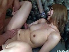 Provocative Asian cowgirl with natural tits getting rammed hardcore doggy style then gives an arousing blowjob till he cums on her face