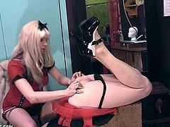 Femdom Goddess wife Starla abuses her sissy husband's ass brutally with a dildo laughing and giggling the entire time while he begs for mercy and release