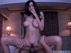 Arousing asian doll Julia enjoys a hot pov blowjob and banging