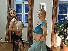 Big Boob erotic dancing by two delicious women