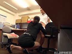 Elegant Japanese cowgirl in miniskirt giving wild blowjob in office before moaning as she is pounded hardcore doggysytle
